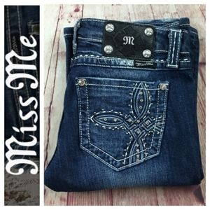 Miss Me Bootcut Embroidered Jeans Y2K Low Rise